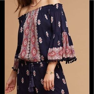 Anthropologie Lilka Bell Sleeve Navy Blue Romper